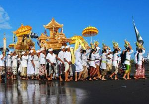 Melasti ceremony on Bali